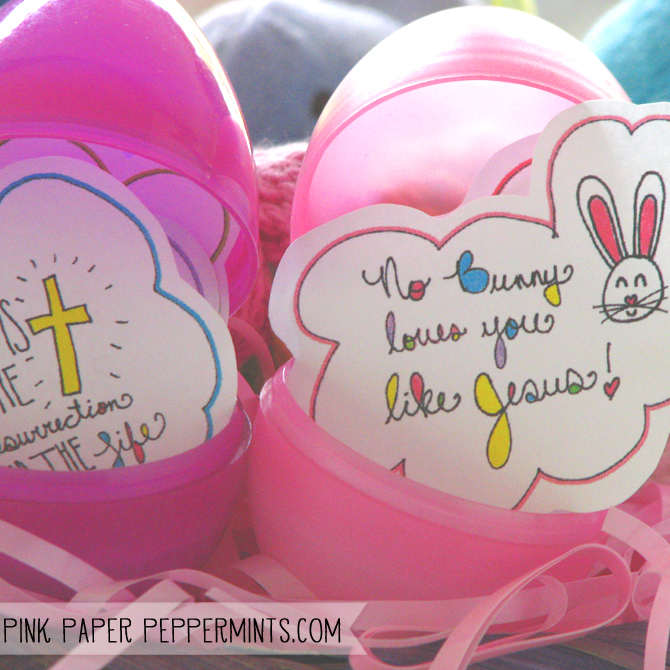 These free, printable, Easter stickers would be perfect, last-minute basket or Easter Egg fillers or for Bible Journaling. via Melissa at Pink Paper Peppermints
