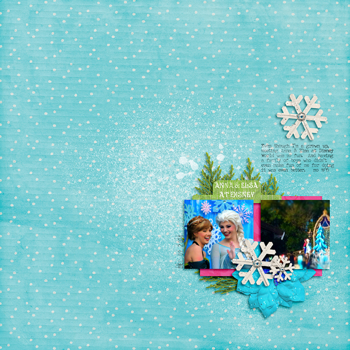 Anna & Elsa from Disney's Frozen.  Layout designed with the Good Cheer digital scrapbooking art and craft kit. Part of the Creative Christmas bundle! Click to see more!