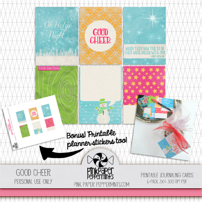 Free printable Christmas journal cards and planner sticker from Melissa at Pink Paper Peppermints.  Click to download!