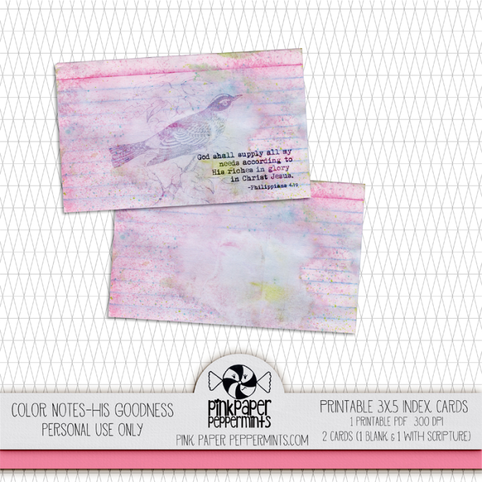 Pretty, printable bible journaling cards.  Free download at Pink Paper Peppermints!