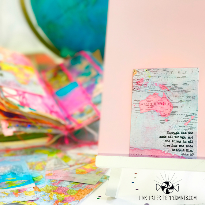 Printable bible journaling tip-in cards made from hand-dyed, vintage maps