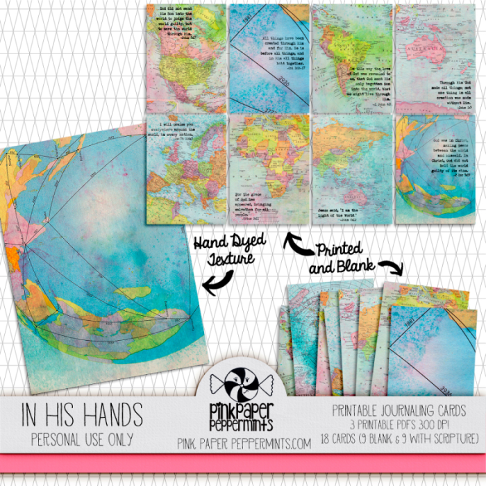 Printable, bible journaling tip-ins made from hand-dyed, vintage maps!