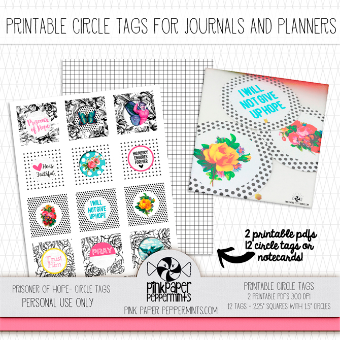 Printable circle tags for traveler's notebooks and bible journaling, Prisoner of Hope.  Zechariah 9:12