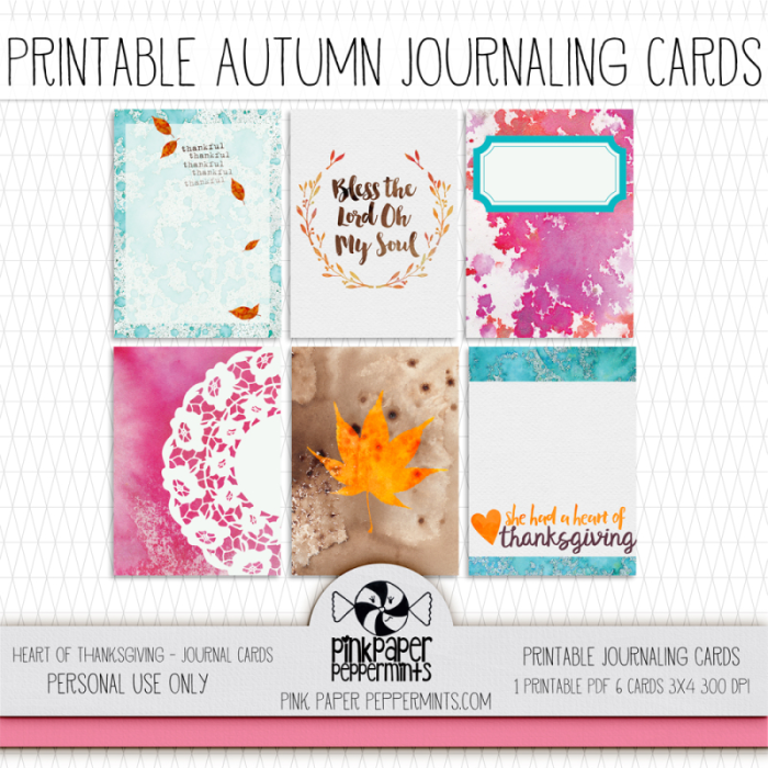 Printable Bible Journaling Cards for Thanksgiving!