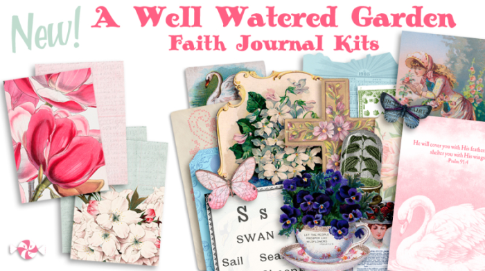 Printable Vintage Traveler's Notebook Junk Journal kit!  Perfect for faith journaling, prayer journals or bible journaling!