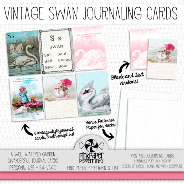 Printable Vintage Swan journaling cards for Junk Journal kit!  Perfect for faith journaling, prayer journals or bible journaling!