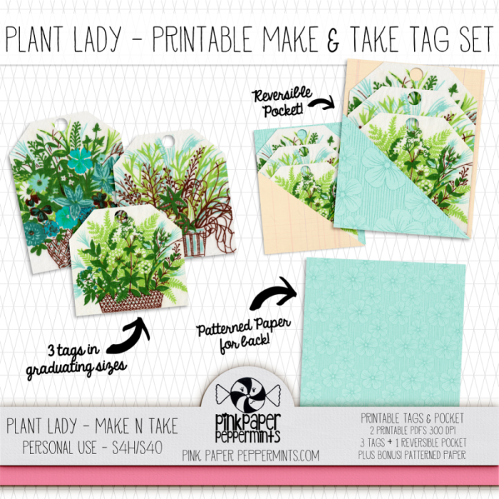 Printable Plant Lady Tag & Pocket set for traveler's notebooks, junk journals and Bible journaling!  Get it free on Make & Take Monday!