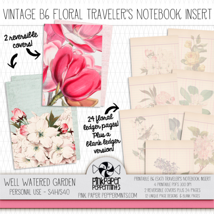 Printable Vintage Traveler's Notebook Inserts in B6 and Standard Size!