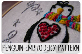 Free Printable Penguin Embroidery Pattern