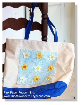 Altered Reusable Grocery Tote Flowers