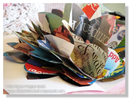 3-D Recycled Magazine Pages Pop Up Flower Card